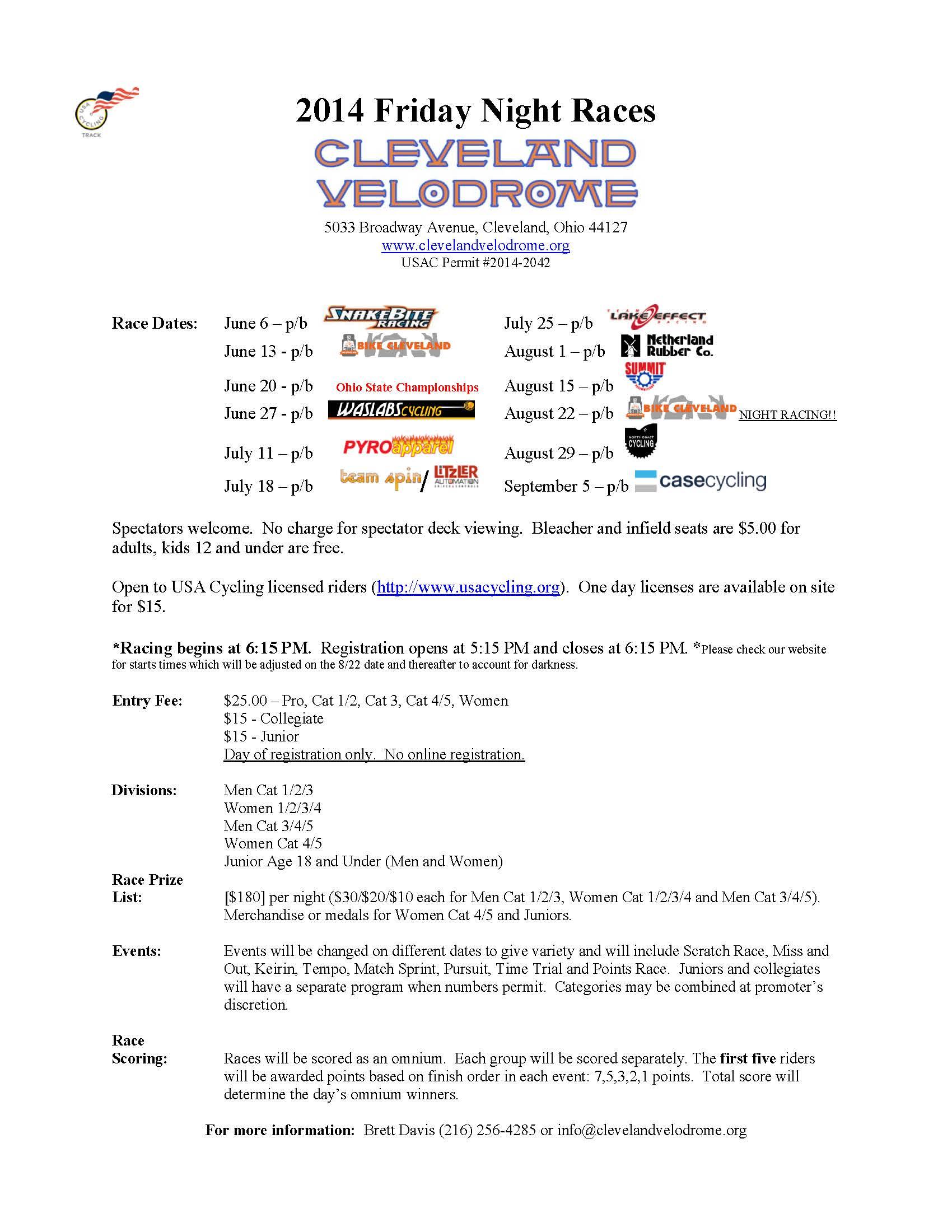 2014 Cleveland Velodrome Friday Night Races
